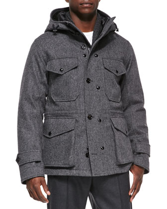 Willie Herringbone Hooded Jacket, Gray