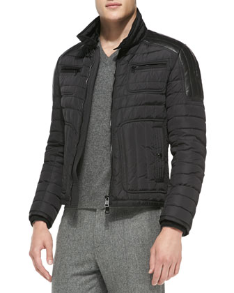Bahar Quilted Nylon Moto Jacket