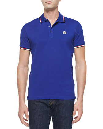 Short-Sleeve Tape-Tipped Polo, Blue