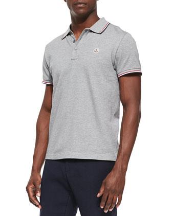 Pique Tipped Logo Polo, Gray