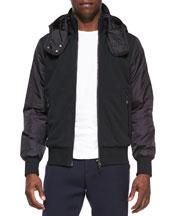 Nylon and Jersey Zip Hoodie, Black