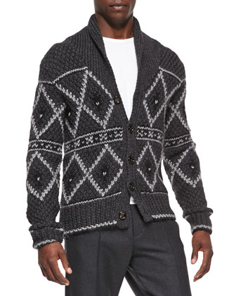 Nordic Heavy-Knit Cardigan, Gray