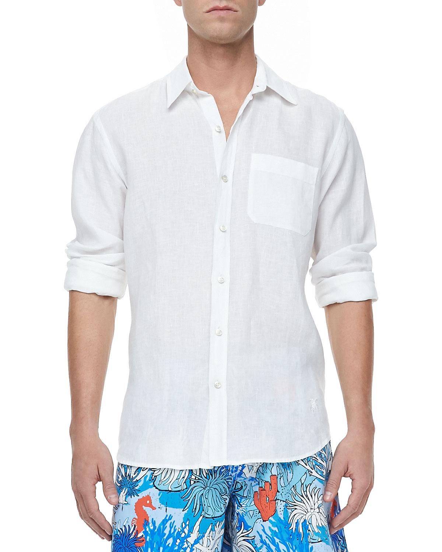 Mens Linen Long Sleeve Shirt, White   Vilebrequin   White (XX LARGE)