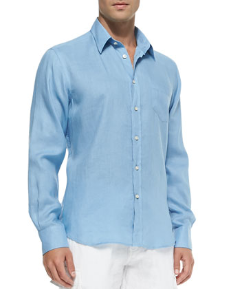 Linen Long-Sleeve Shirt, Lt. Blue