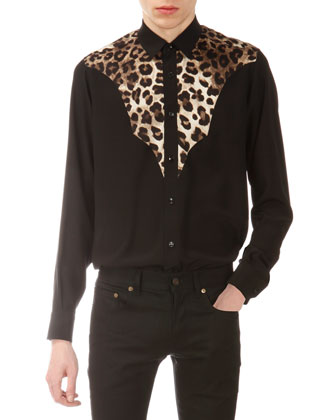 Silk Leopard/Solid Western Shirt & Stretch-Denim Jeans