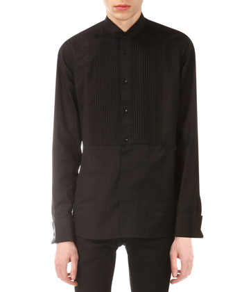 Pleated Bib-Detail Tuxedo Shirt, Black