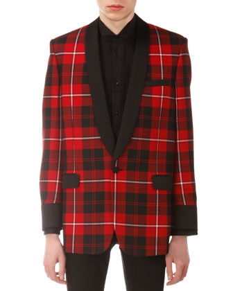 Plaid Shawl-Collar Evening Jacket