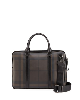 Check Leather Compact Briefcase, Multi