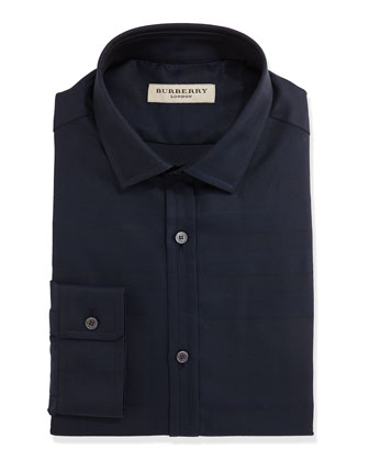 Tonal-Check Jacquard Dress Shirt, Navy