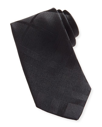 Narrow Check Silk Tie, Black