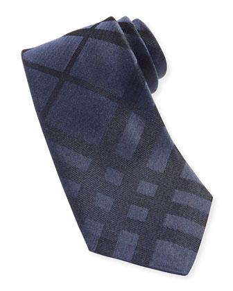 Narrow Check Silk Tie, Navy