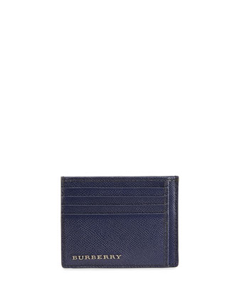 Leather Card Case with Pockets, Navy
