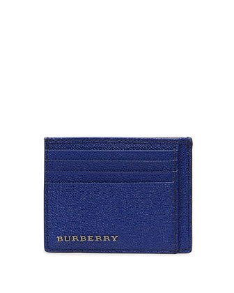 Leather Card Case with Pockets, Blue