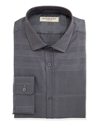 Tonal-Check Dress Shirt, Charcoal
