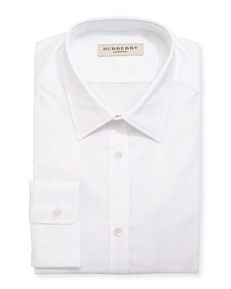 Tonal-Check Jacquard Dress Shirt, White