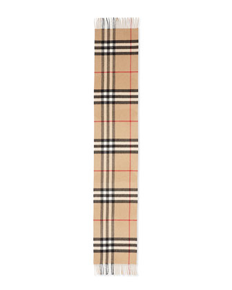 Giant-Check Cashmere Scarf, Camel