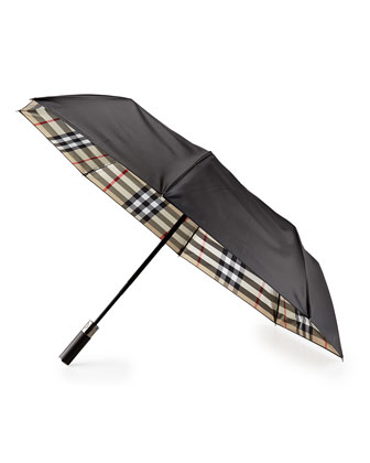 Retractable Check-Lined Umbrella with Wooden Handle