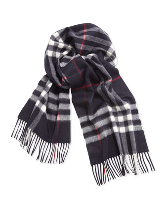 Giant Check Cashmere Scarf, Navy