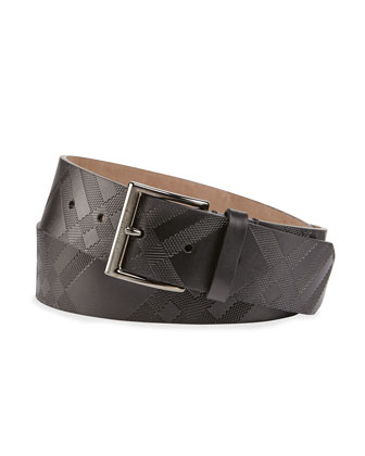 Embossed Check Cleydon Buckle Belt, Black
