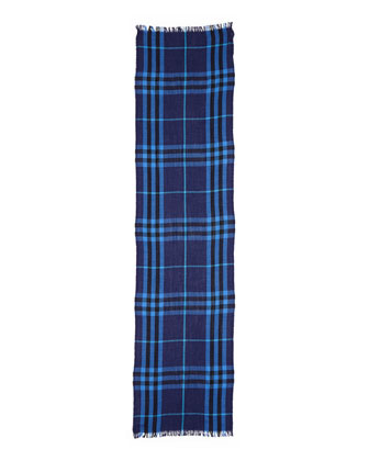 Cashmere Crinkled Check Scarf, Bright Navy