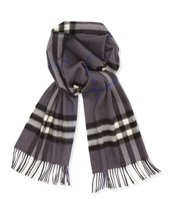 Men's Giant-Check Cashmere Scarf, Pewter