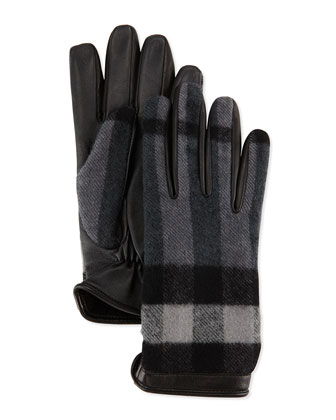 Luka Wool & Leather Check Gloves