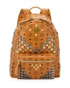 Stark Visetos Men's Medium Studded Backpack, Cognac