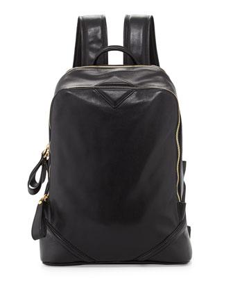 Men's Flat Basic Leather Backpack, Black