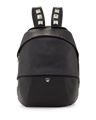 Men's Egg Leather Backpack, Black