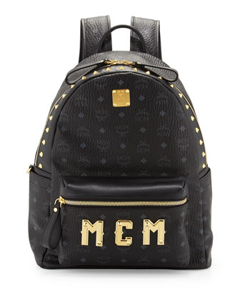Men's Studded Logo Backpack, Black