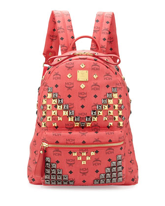 Stark Visetos Men's Medium Studded Backpack, Red