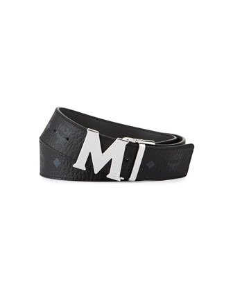 M-Buckle Monogram Belt, Black