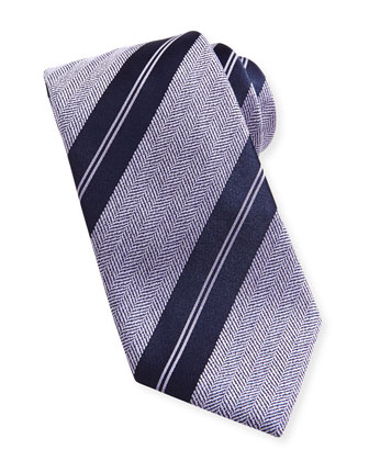 Striped Herringbone Tie, Purple