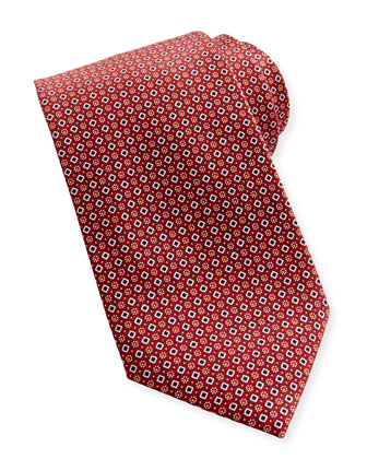 Diamond-Dot Silk Tie, Red