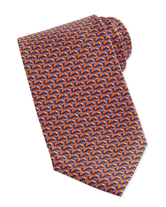 Link Pattern Silk Tie, Orange