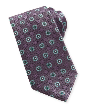 Geo-Medallion Silk Tie, Purple