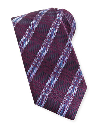 Striped Plaid Woven Tie, Burgundy