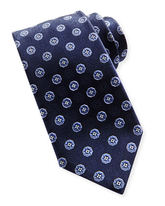 Small-Medallion Silk Tie, Blue