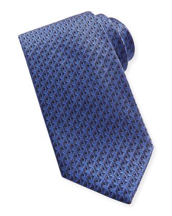 Y-Pattern Woven Tie, Navy/Blue