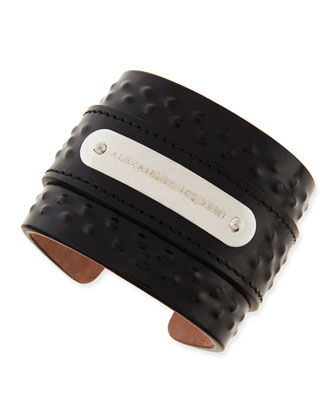 Men's Covered-Stud Leather Cuff