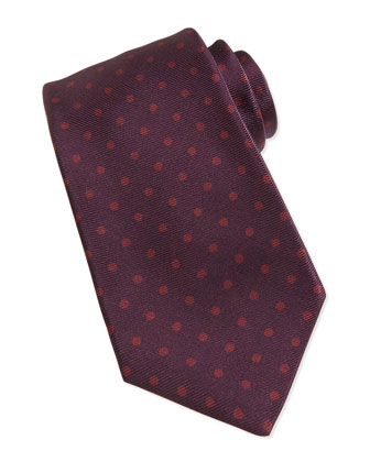 Polka-Dot-Print Silk Tie, Burgundy/Red