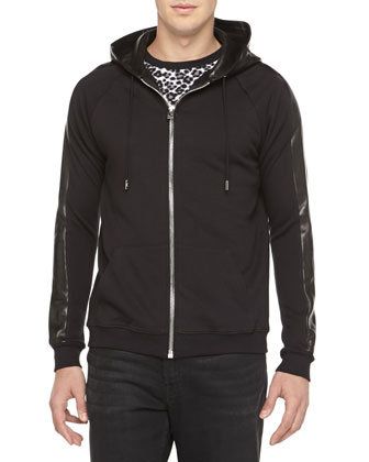 Zip Hoodie with Leather Hood & Leopard-Print Jersey Tee