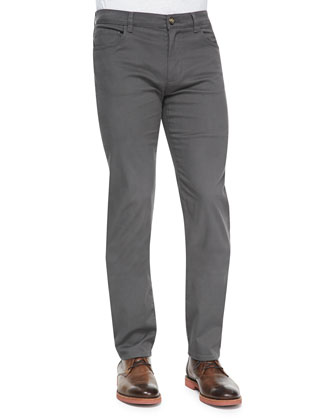 5-Pocket Stretch-Cotton Pants, Gray