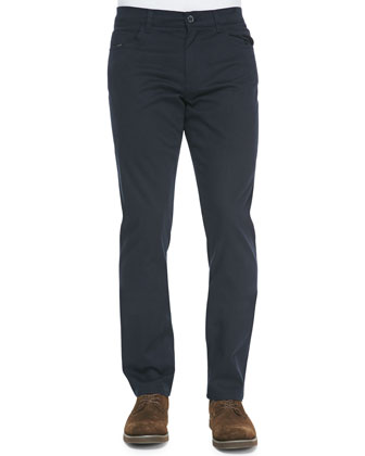 5-Pocket Stretch-Cotton Pants, Navy