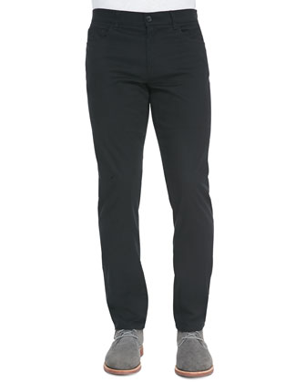 5-Pocket Stretch-Cotton Pants, Black