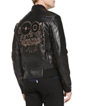 Monster-Logo Leather Bomber Jacket, Black