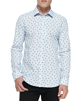 Twin Peaks Printed Poplin Shirt, Light Blue