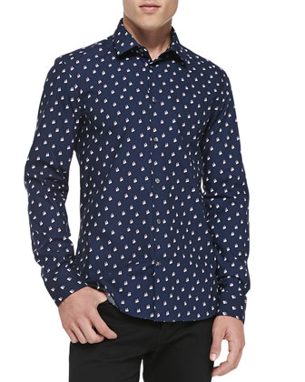 Twin Peaks Printed Poplin Shirt, Navy