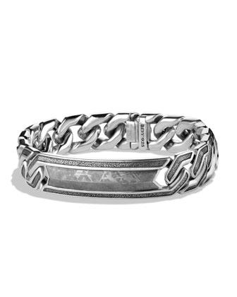 Meteorite Curb Chain ID Bracelet
