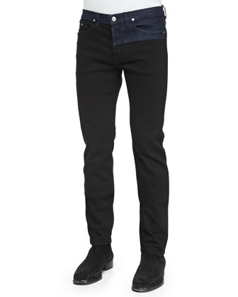 Bicolor Denim Jeans, Black